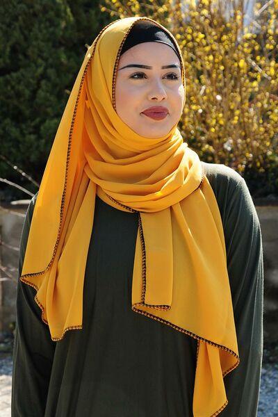 ... Écharpe avec bordure en tricot jaune moutarde 161bec90022