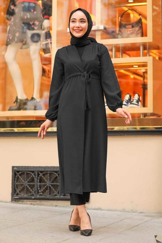 Modest Fashion Black Hijab Mantel S