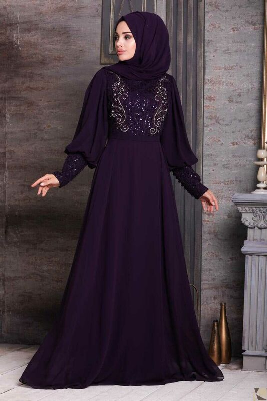 Modest Fashion Purple Hijab Abend Kleid MOR